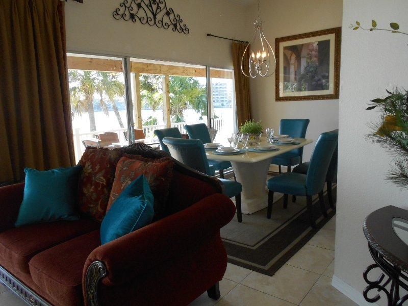 Attractive space to entertain inside or outside on huge East and West deck - Water Front  Beach Condo - Redington Shores - rentals
