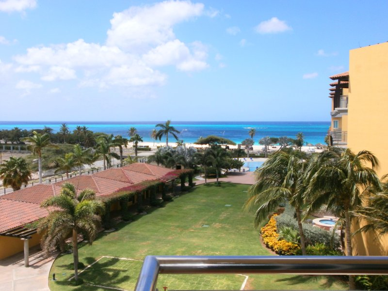 Panoramic Ocean and pool view from the Emerald View Two-bedroom - Emerald View Two-Bedroom Condo - P416 - Eagle Beach - rentals