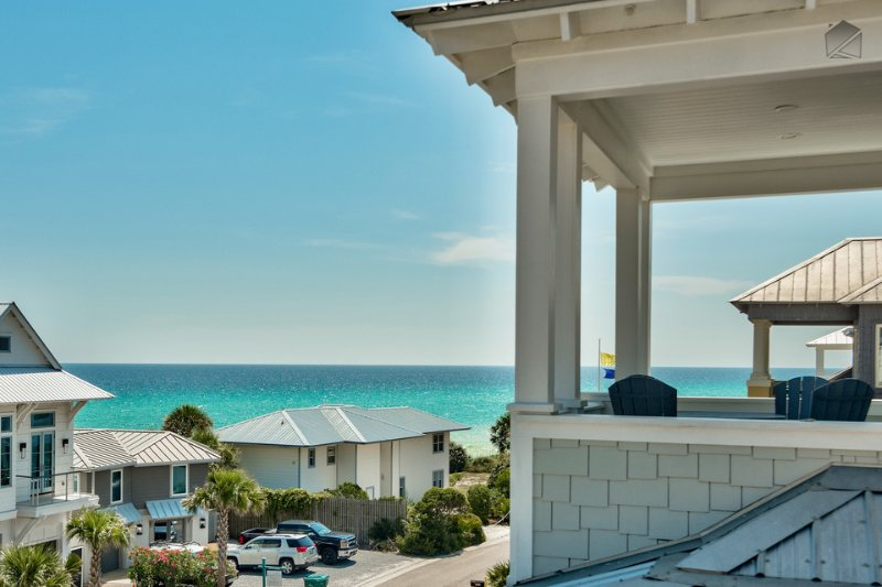Looking at the Gulf from the third floor, you can instantly see why its called C'est La View.  - Stunning home with gulf views, 3 decks, community pool - short walk to Rosemary and beach  - C'est La View - Panama City Beach - rentals
