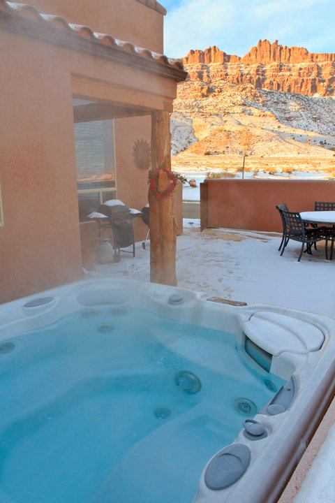 From the private hot tub: Rim views one direction, Snow-capped La Sal Mountains the other - No fee!  3BR with fireplace, hot tub, rim views! - Moab - rentals