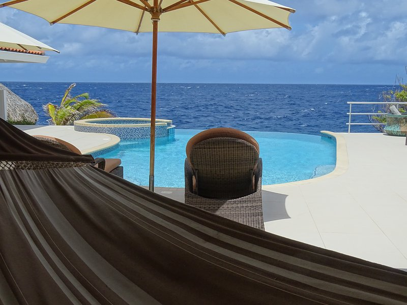 Pool with view over the Caribbean sea - Caribbean Ocean Front Villa in Curacao - Willemstad - rentals