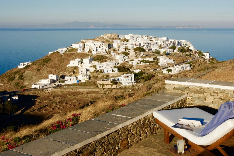Evening setting over 3000 year old Kastro and the Aegean Sea - Luxurious Villa on Sifnos, Cyclades - Sifnos - rentals