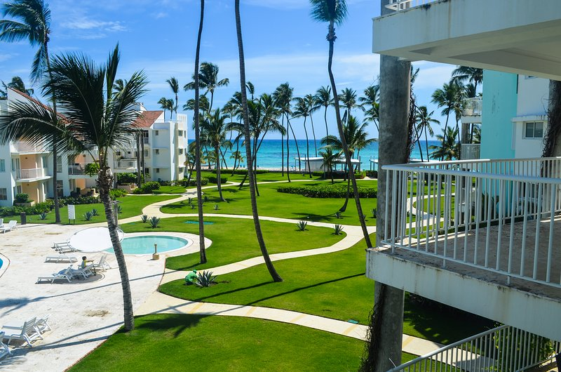 View from balcony to ocean - Playa Turquesa 1 BR, 2BA great ocean view K303 - Bavaro - rentals