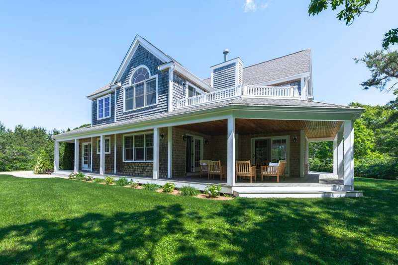 QUINJ - Newly Refurbished Contemporary Home, Beautifully Furnished,  Privately Situated with Large Yard and Wraparound Farmer's Porch, Dodger's Hole Area - Image 1 - Edgartown - rentals