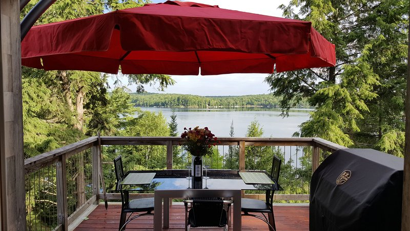 Outdoor eating area with lake views - The Loft - Panoramic Adult Lakeside Cottage - Haliburton - rentals