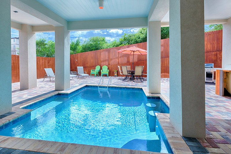 Private Pool and Back Patio Offers Plenty of Lounge Chairs In or Out of The Pool - IORANA: BRAND NEW, Gulf View, Private Pool, Game Room, Steps2Beach - Miramar Beach - rentals