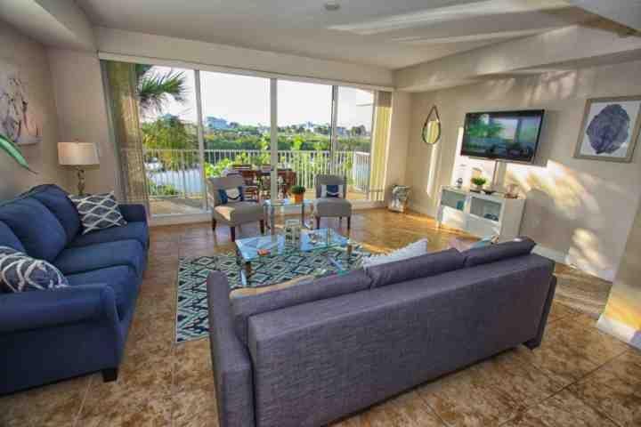 Living Area w/ Sofa Sleeper, Balcony View  | Flatscreen TV - 555 Little Harbor - Ruskin - rentals