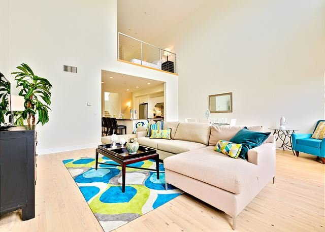 Large, light Living area of 2nd Floor with peak view of King Master Suite on 3rd floor. - Luxury Loft just moments from beach and Legoland - Carlsbad - rentals