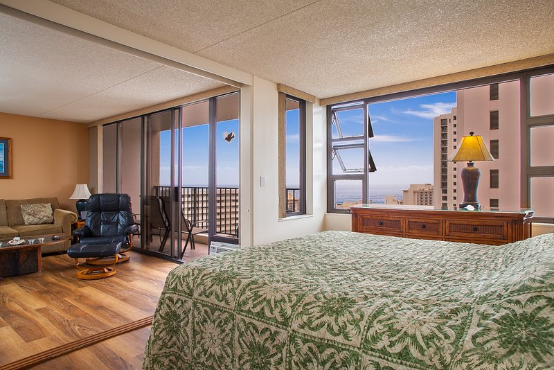 Master bedroom and living room - Large 1BR Incredible Views! Pool, Jacuzzi WB2806 - Waikiki - rentals