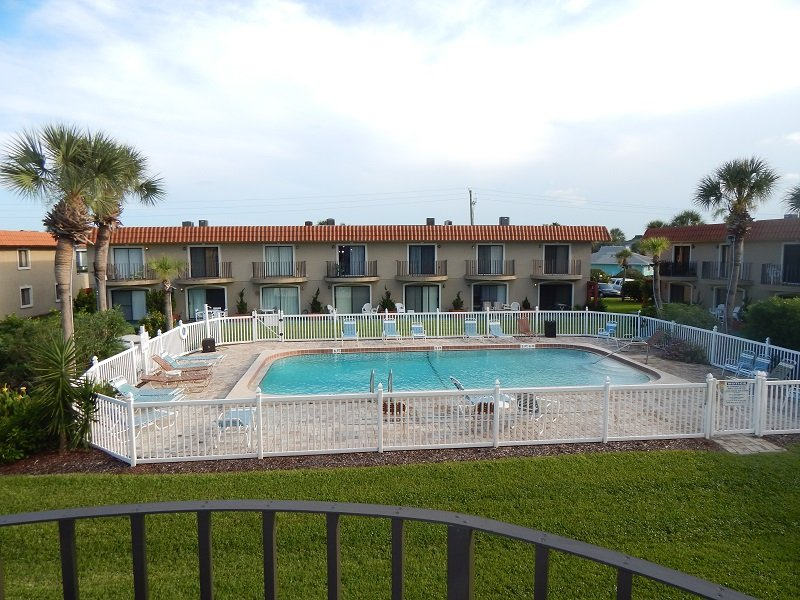 West pool from master bedroom balcony - Ponce Landing Unit #49, Poolside, Family Friendly - Saint Augustine Beach - rentals