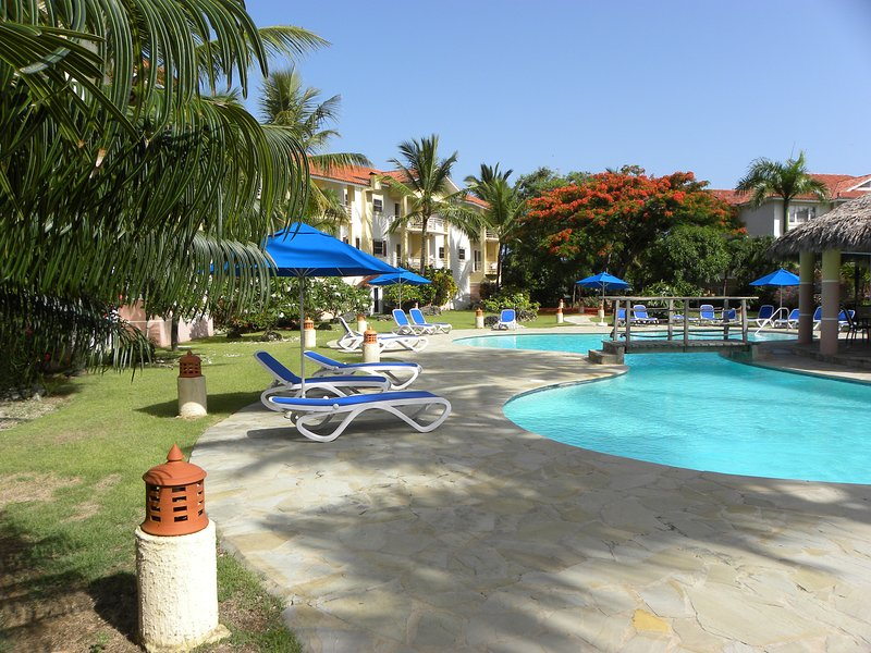 Large, gorgeous swimming pool with lounge chairs and umbrellas! - Fantastic Condo right on beautiful Cabarete Bay! - Cabarete - rentals