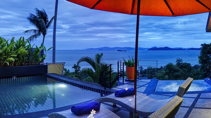 Villa Emerald has captivating ocean views across to the Gulf of Thailand - Outstanding Ocean View, 1 Bed Villa with a Car - Koh Samui - rentals