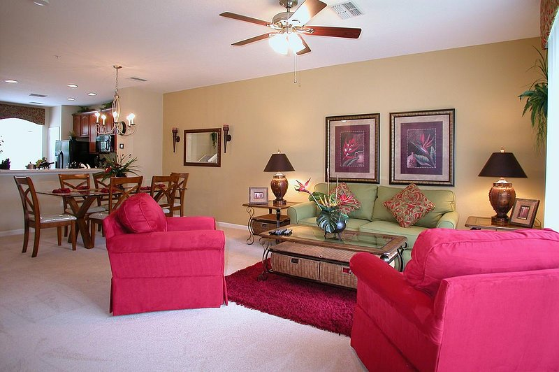 Beautiful, tropical themed, luxurious living room - Vista Cay Getaway-Luxury-Universal/SeaWorld/Disney - Orlando - rentals