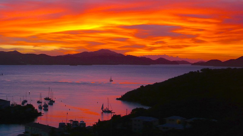Actual (untouched) photo taken from apartment deck 3/30/15 - Spectacular Views Day & Eve in Treetop Apartment - Cruz Bay - rentals