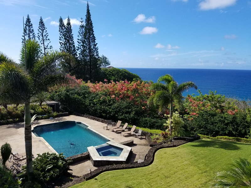 Breathtaking views over ocean and pool from lanai.  The sounds of waves are as constant as the day. - Kauai North Shore Estate-Big Ocean Views Pool/Spa.    TVNC-4313  SP 2012-16 - Kilauea - rentals