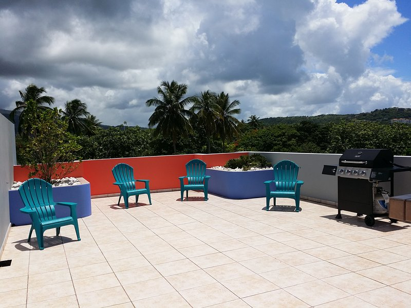 Private Rooftop Terrace With View of El Yunque - Sea Poppi -  Ocean Front Condo with PRIVATE Rooftop Terrace! - Luquillo - rentals