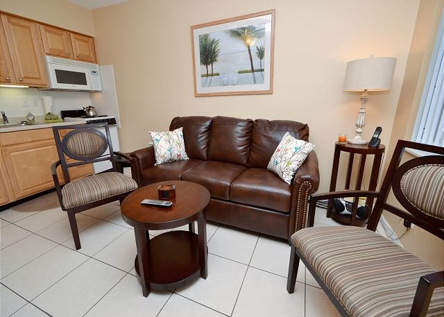 Living Room with Sleeper Sofa - Tropic Breezes #19 - Second Floor Condo with Gulf Views, Pool and Free WiFi! - Madeira Beach - rentals