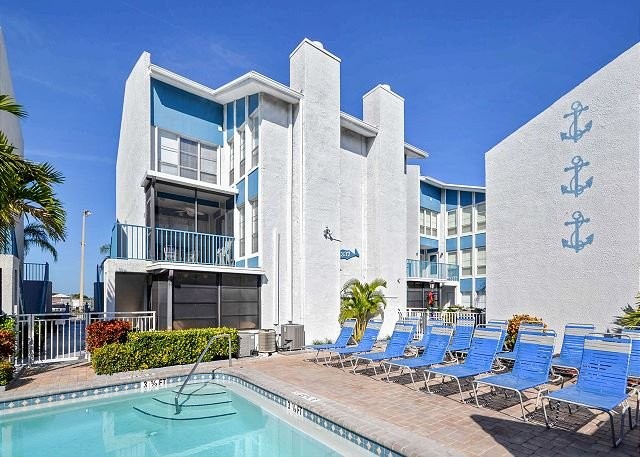 Building 337G Pool Area - Unit is the second and third floor on the corner - Madeira Beach Yacht Club 337G -  Spacious Two-Story Townhouse with Pool View! - Madeira Beach - rentals
