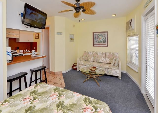 View from the Queen size bed - Sea Rocket #21- Second Floor Gulf Front Efficiency Condo- Steps from the Sand - North Redington Beach - rentals