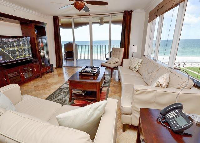 Living Room with Panoramic Views - La Contessa 210 - Spectacular Gulf Front Corner Condo with Upgrades Galore! - Redington Beach - rentals