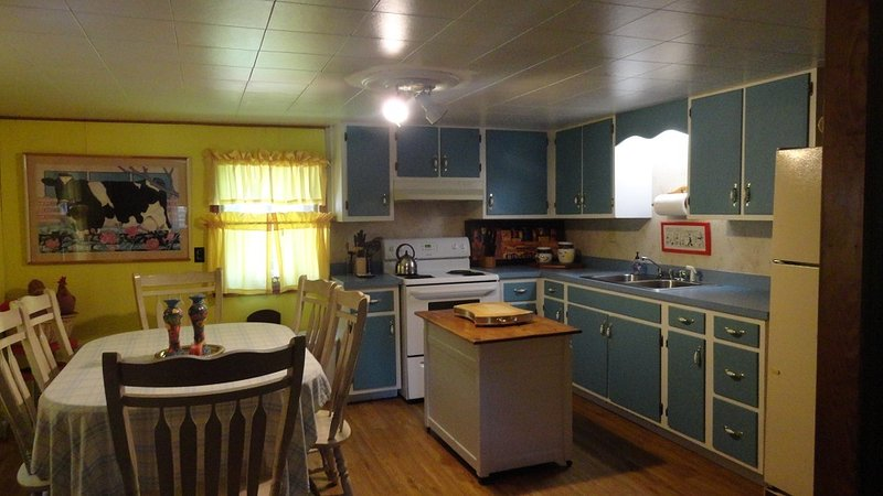 Large Country Kitchen. For a wheelchair we move the Island to make plenty of room for turning around - Handicap Friendly Cabin - Franklin - rentals