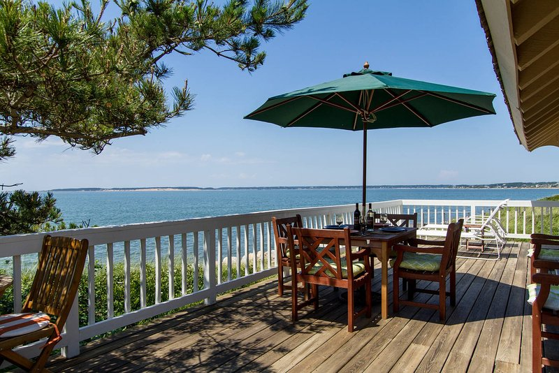 Deck looking Northwest - Spectacular Private Waterfront and Beachfront Home - Wellfleet - rentals