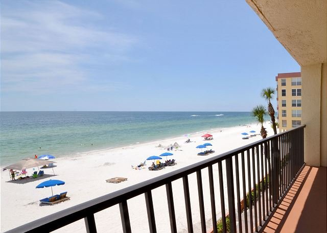 View from the Balcony - Las Brisas 202 - Gulf Front Three Bedroom, Two Bath Condo with Pool and BBQ! - Madeira Beach - rentals