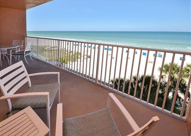 Gulf view balcony! - Sand Castle II 2505 Gulf Front 3 Bedroom 2 Bath  - Pool, Spa, BBQ and WiFi! - Indian Shores - rentals