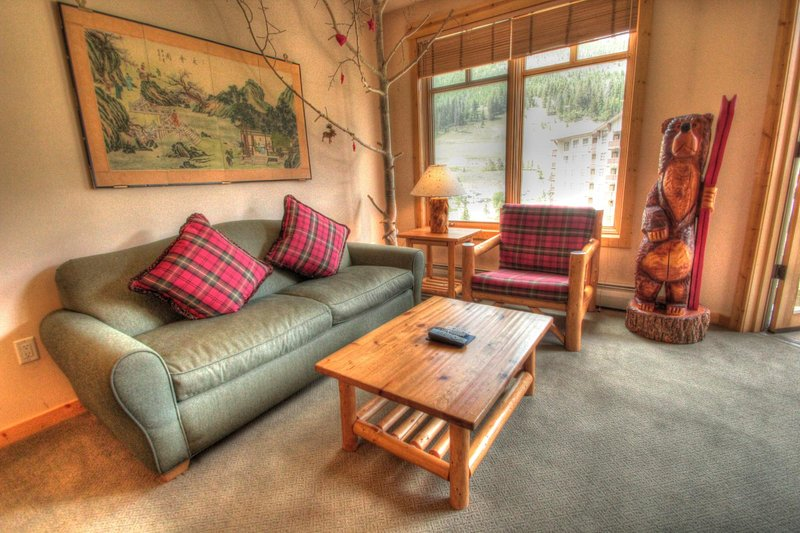 """SkyRun Property - """"TM525BR1 Tucker Mtn Lodge"""" - Living Room - The living room has a sofa that pulls out to sleep 2 additional people. - TM525BR1 Tucker Mtn Lodge - Copper Mountain - rentals"""