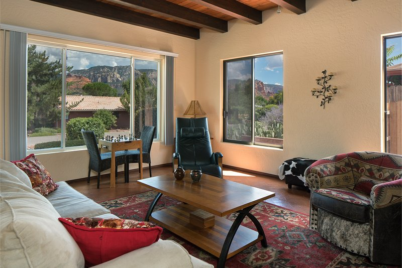 Living room views of Snoopy Rock. - Uptown Spanish-style Charmer with Views - Sedona - rentals