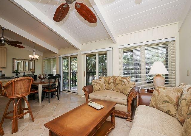 Living Area - 8 H H Beach Villa - Beautiful Villa Pool Side Villa - Oceanfront Complex - Hilton Head - rentals