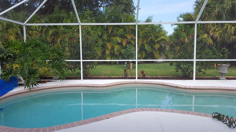 HEATED Salt Water Pool, Private-Fenced in Back Yard, Screen enclosure, lanai - HEATED Salt Water Pool 3 brm house near golf beach - Rotonda West - rentals