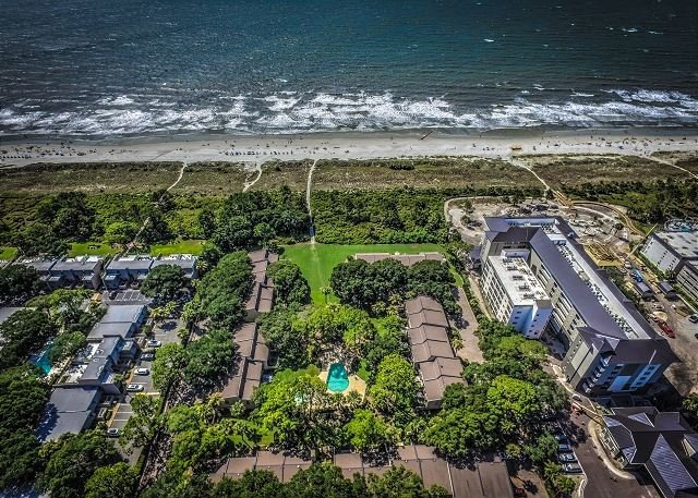 Aerial View to the Beach - 8 H H Beach Villa -Beautiful Pool Side Villa – Oceanfront Complex - Hilton Head - rentals