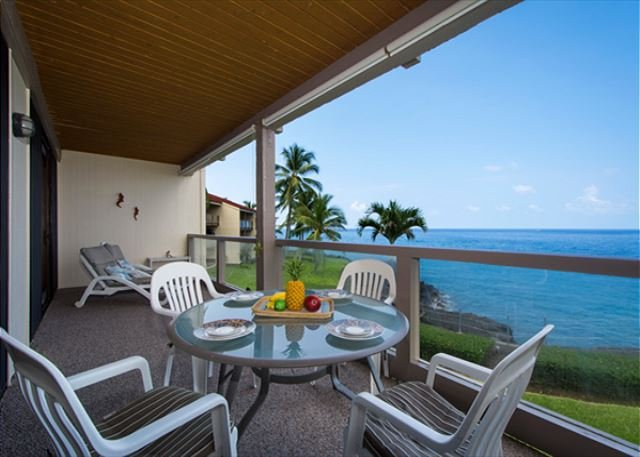 Spacious Lanai with beautiful ocean views!  - KKSR3202 DIRECT OCEANFRONT, Spacious, 2nd Flr - Kailua-Kona - rentals