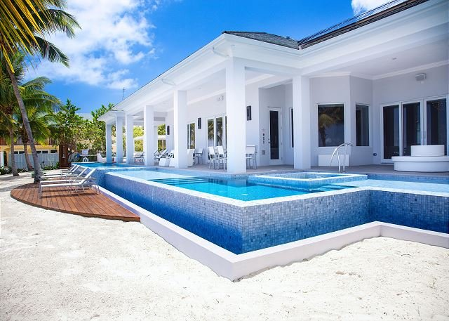 "View From Beach - Infinity Edge Pool and Expansive Deck - ""Point of View"" - Luxury 6BR Oceanfront Estate with Pool and 2 Hot Tubs - George Town - rentals"