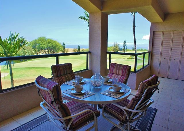Lanai with Great Ocean Views - Waikoloa Fairways 2 Bedroom Beauty with Ocean and Golf Course Views-WF A203 - Waikoloa - rentals