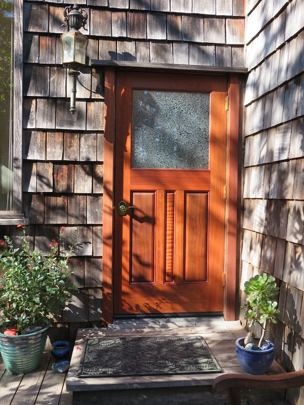 our beautiful new Virgin Redwood handcrafted door  - Caspar Cottage charming private Mendocino rental - Mendocino - rentals