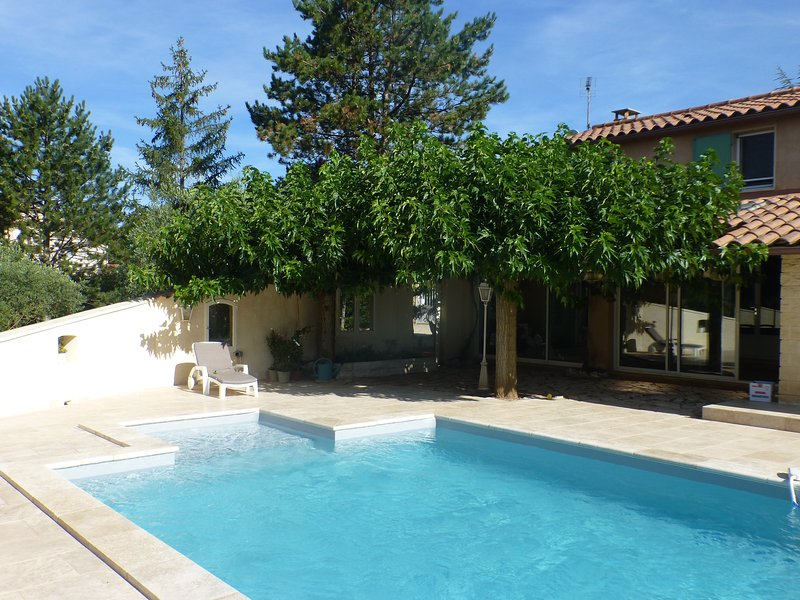 View of the pool with its padded lounge-in-the-water area, and part of the house. - La Roc' Bruyere, Pet-Friendly 3 Bedroom Villa with - Saint-Saturnin-les-Apt - rentals