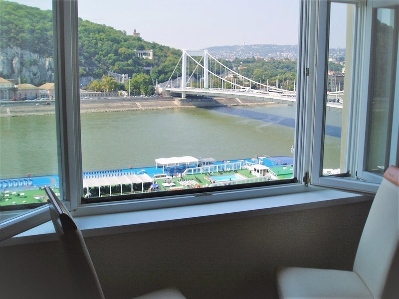 View of Danube from living room window - Danube View Apartment, city centre + amazing view - Budapest - rentals