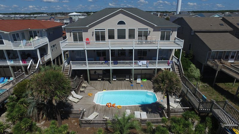 Awesome ocean views from both decks with 12 rockers and 2 swings to enjoy!! - Oceanfront 12 Bedroom  #1 Beach Weddings/Retreats - Ocean Isle Beach - rentals