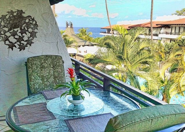 Lanai with Ocean  View - Ocean views from Casa De Emdeko 307 -AC Included! - Kailua-Kona - rentals