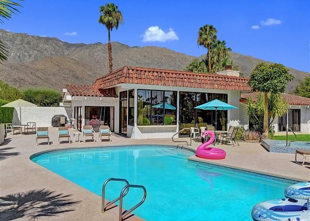 Take in the amazing mountain views while you lounge by the pool - Location, Location, Location! - On Indian Canyon Golf Course, Private Pool! - Palm Springs - rentals