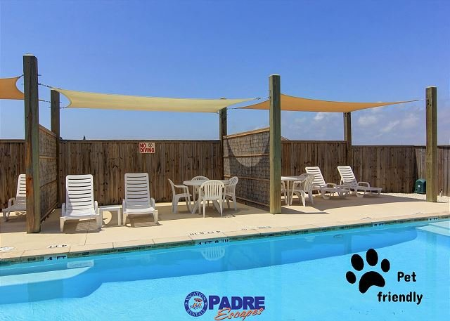 Poolside cabanas make it easy to hide out from the hot summer sun - 3/2.5 Townhouse Close to the Beach w/a Heated Pool & Pet-friendly! - Corpus Christi - rentals