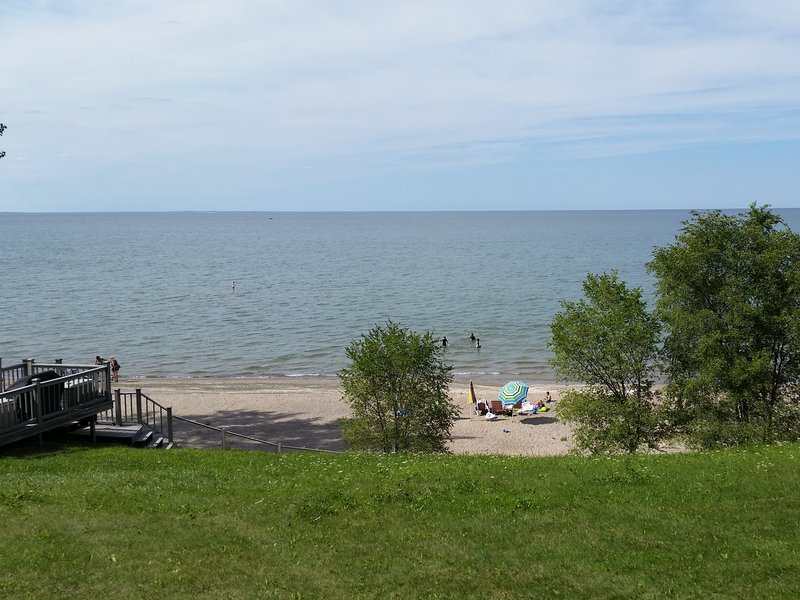 One of the guest families at the FULLY PRIVATE beach, August 2016. - Lakefront Home with Large, Fully-Private Beach!!!! - Huron - rentals