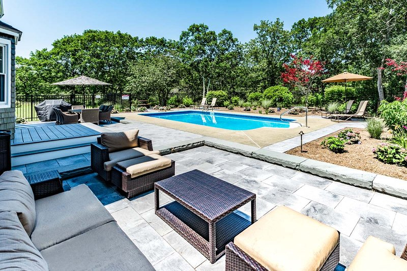 Pool, Patio, outdoor Living Room,  Summer Dining Area, Children's Picnic/Play Table - RAOMA - Long Point Beach Area,  Heated Pool, Contemporary Coastal Interior - Martha's Vineyard - rentals