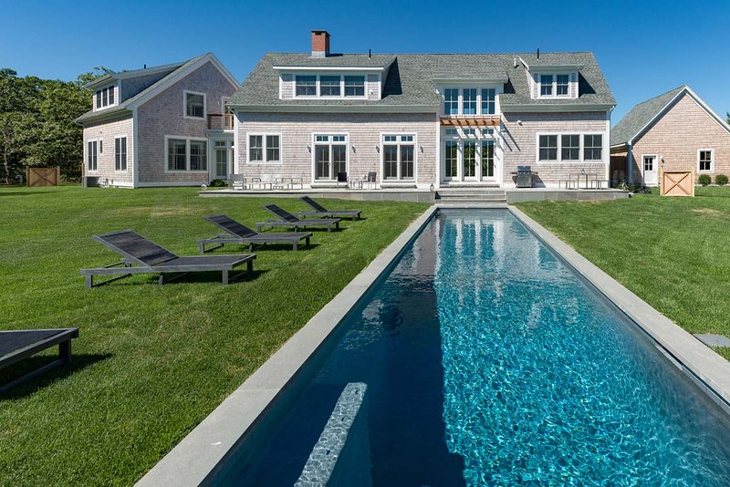 18 x 52' Pool adjoins the Patio, Expansive Private Yard, Designer Custom Home - CHAVG - Deep Bottom, Oustanding New Contemporary Designer Home, Heated Pool, Walk to Association Tennis Courts - Martha's Vineyard - rentals