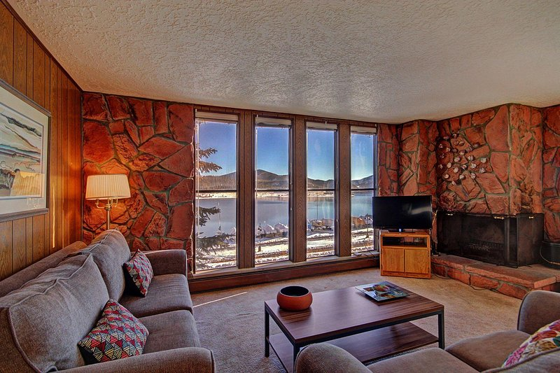 "SkyRun Property - ""A208 Lake Cliffe Condos  2BR 2BA"" - Living area with stunning views - Features HD TV & Wood burning fireplace. - A208 Lake Cliffe Condos  2BR 2BA - Dillon - rentals"