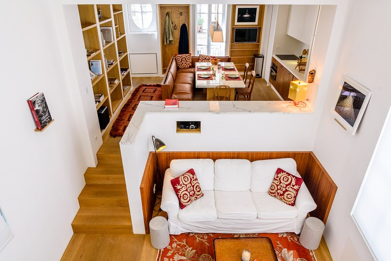 View of the apartment from the mezzanine - Gorgeous luxury studio at Panthéon and Luxembourg - Paris - rentals