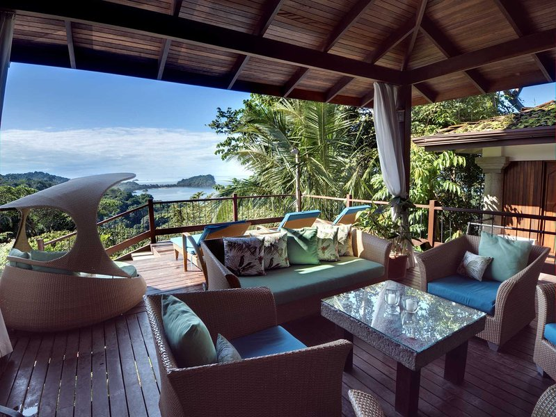 Expansive ground floor deck with Pacific Ocean  - Casa Samba True Tropical Villa w Outstanding Views - Manuel Antonio National Park - rentals