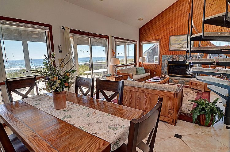 Great Room (Living & Dining) - Dolphin Rise - Sensational Ocean View, Beautiful Accents, Direct Beach Access - Topsail Beach - rentals